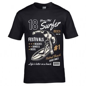 Premium 18 Year Old Surfer Beach Surfboard Motif For 18th Birthday gift men's Black t-shirt top